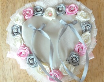 Wedding ring pillow satin in the shape of heart (made to order)