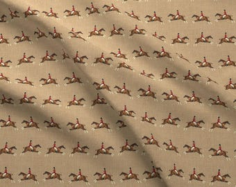 Equestrian Horse Fabric - Hunters On Linen By Ragan - Equestrian Cotton Fabric By The Yard With Spoonflower