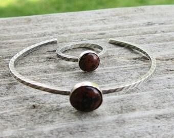 Mahagoni Obsidian Armband Manschette und passende Set Ring