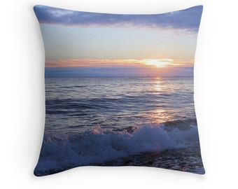 Beach Theme Sunrise Pillow Cover- Sunrise in Blue, Coastal Art, photography pillow, pillow art, Beach Photo Pillowcase, beach decor