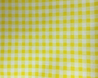 Yellow White Mini Checkered Poly Cotton Printed Fabric - BTY - 59""