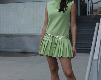 1960s Vintage Go-Go Lime Green Dress