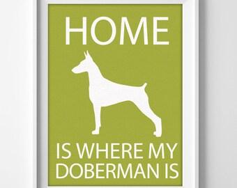 """8x10"""" Doberman Pinscher Art, Illustrated Dog Art, Doberman Decor, Dog Breed Wall Art, Pet Owner Art, Puppy Wall Art Print, Doberman Print"""