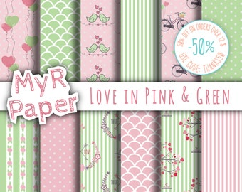 "Valentines Digital Paper: ""Love in Pink & Green"" for scrapbooking, invite, card – perfect for Valentine's day and Shabby Chic projects"