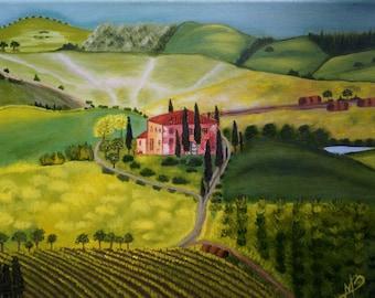 "Landscape oil painting ""Tuscany"". Handmade art."