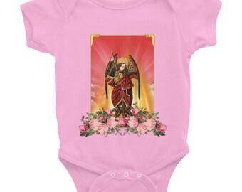 Infant Bodysuit - 4 COLORS - Saint Michael Archangel - catholic bodysuit - catholic onesies - St Michael onesie - holy art