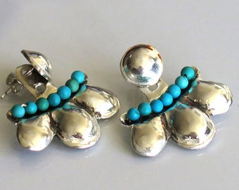 Turquoise Ear Cuffs, Studs and Jackets, Silver Turquoise Earrings, Hammered Ear Jackets, Silver and Turquoise, Turquoise Ear Jackets