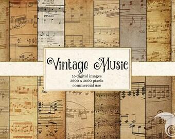 Vintage Music Digital Paper, Sheet Music, Old Paper, Antique Paper Ephemera, Musical Notes, Decoupage Instant Download
