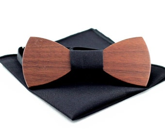 Walnut wooden bow tie + matching pocket square(black)