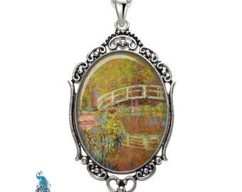 Monet Japanese Bridge Oval Filigree Pendant Necklace Art Pendant Photo Pendant Graphic Pendant