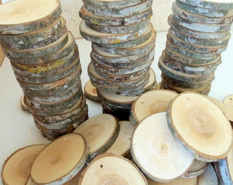 NEW - Wood Slices - 100 Blank White Tree Branch slices,Drilled - Tags Supplies - Wedding Supplies - Jewelry Supplies. 3 inches in diam.