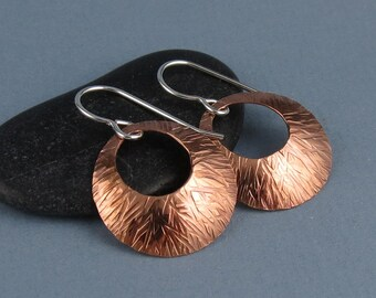 Small Modern Round Textured Copper Earrings