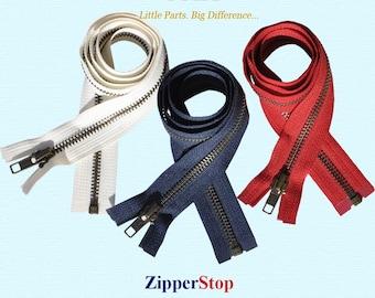 WHOLESALE Jacket ykk Zippers-30 inch  3 zippers - #5 Antique Brass Zippers - Separating -  YKK Navy Beige-Red~ZipperStop Distributor YKK®