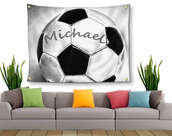 Soccer Tapestry-Name on Soccer Ball-Tapestry with Grommets-Custom Wall Decor-Soccer Wall Decor-Custom Sports Decor-Outdoor Tapestry