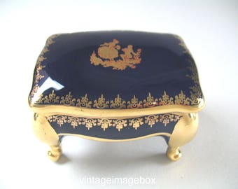 Vintage Limoges La Reine Porcelain Trinket Box, Courting Couple, Cobalt Dark Blue and Gold Colour, Romantic Classical Decor