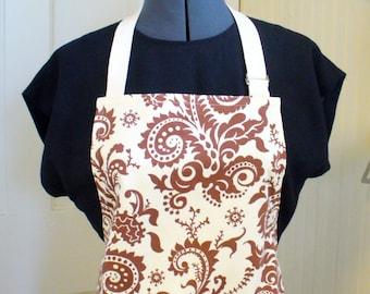 Amy Butler Fabric Womens Apron  Full Apron Chefs Apron Adjustable Apron Nigella Wood Fern Ivory Brown Paisley Handmade MTO