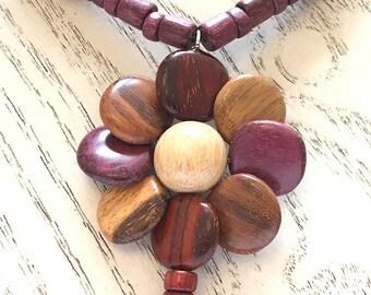 Wood Flower Pendant Necklace, Costa Rican Wood Jewelry, Handmade Wood Jewelry