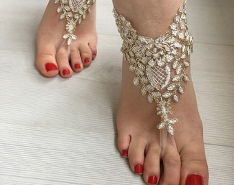 Ivory Gold Barefoot Sandals, Wedding sandals, Bridal  Shoes, Beach wedding, foot jewelry  Bridesmaid sandals, Bridal Barefoot sandals