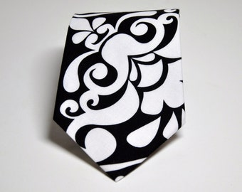 Men's Tie Black and White Damask Necktie