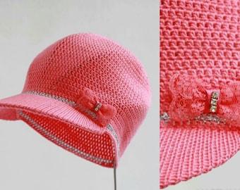 Lovely Girl's Knitted Hat with Visor