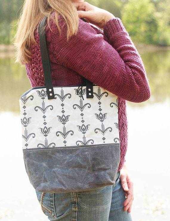 Waxed Canvas Art Deco Tulip Tote Bag, Women's Handmade Screen Printed Purse, Waxed Canvas Handbag