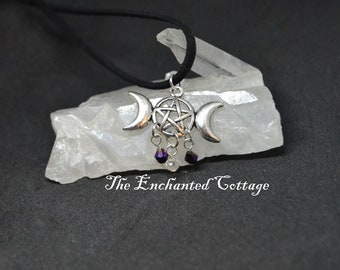 Silver Goddess Moon Necklace~ Pagan Necklace~ Wiccan Jewelry~ Magickal Trinket~ Witchy Bauble~ Celtic Jewelry