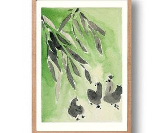 Bamboo and hens Art Print, chickens art print, nursery art, zen, Sumi ink painting, Peridot Green, farm, Japanese inspired print, kids room
