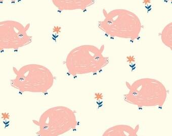 Organic Crib Sheet, Changing Pad Cover, Oink, Farm Animals Crib Bedding, Baby Animals Theme  Nursery, Birch Organic Fabric, Nursery Bedding,