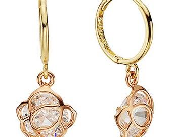 14k Solid Yellow Gold hoop Earrings 6828 Charming Flower Design Lovely