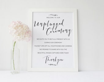 Rustic Casual   Printable Unplugged Ceremony Sign   Instant Download   A3   Wedding Stationery