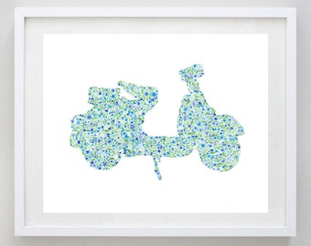 Vespa Blue Floral Watercolor Art Print