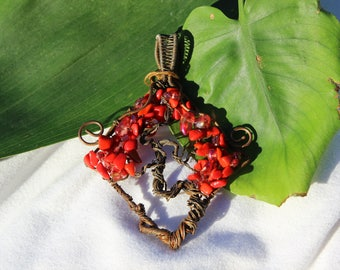 Happy Accidents Red Coral Tree of Life Pendant