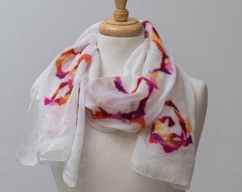 Sale 50% Off Nuno felted scarf, felted scarf,felt scarf, nuno felt, silk, mosaic pattern, oranges, pink,yellow, Laleh Javaheri