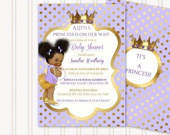 Little Royal Princess Lavender & Gold Crown Jewels | African American Vintage Baby Afro Puffs | Personalized Digital Invitation