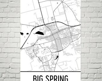 Big Spring Map, Big Spring Art, Big Spring Print, Big Spring TX Poster, Big Spring Wall Art, Big Spring Poster, Big Spring Texas, Gift Decor