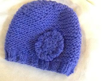 Roadside Chicory, wool/ mohair blend, bulky yarn, women's slouch hat, crocheted flower embellishment