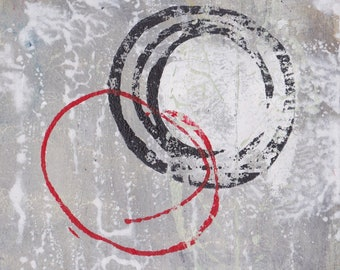 Enso IV - February 2017, abstract painting on paper, 4 x 4, small art work