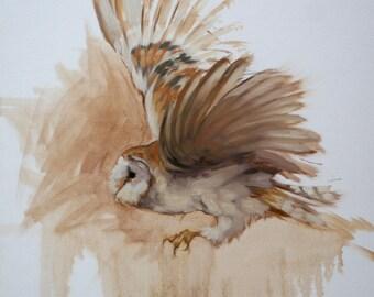 Beautiful LE bird gift bird lover gift art print bird print flight impressionist 'Barn Owl' from an original oil wall art home decor