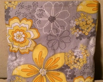 Reusable Fabric Snack Bag with Velcro Closure; Yellow & Gray Flowers