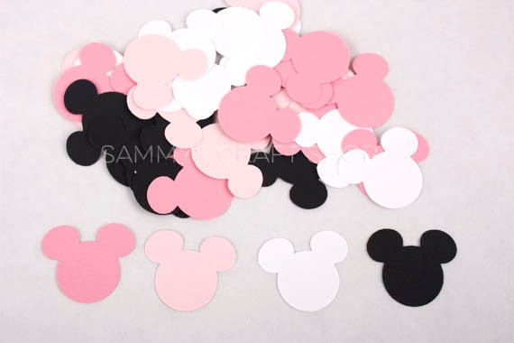 Minnie Mouse Confetti Black Pink and White Minnie Mouse Birthday