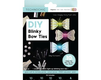 TechnoChic DIY Blinky Bow Ties Kit - Elegance - Gold, Rose Gold, Silver Tech-Craft kit for STEAM, parties, DIY light-up bow ties are cool!