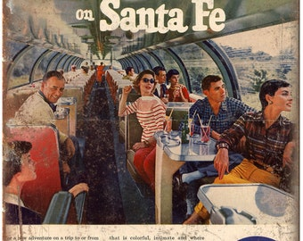 "Santa Fe Trains vintage ad Big Domes 10"" x 7"" reproduction metal sign"