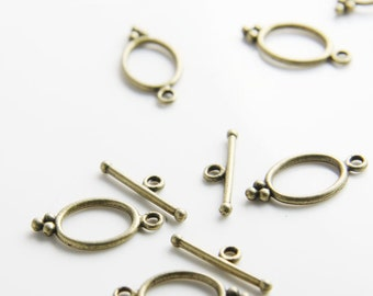 24 Sets Antique Brass Tone Base Metal Toggle Clasps (8418Y-K-203B)
