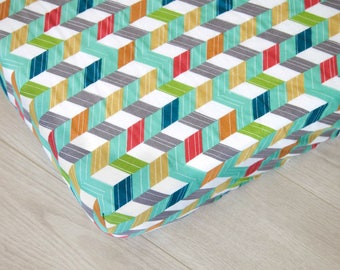 Organic Fitted Crib Sheet | Multicolor Chevrons