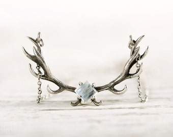 Deer Antler Necklace Moonstone and Sterling Silver Charm Horns Boho Jewelry - FPE017