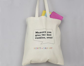 Speech Bubble Tote Bag - Book Bag - Grocery Bag - Shopping Bag - Kids' Bag - Personalised