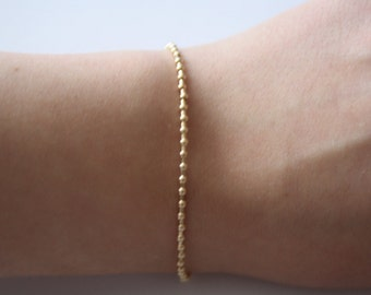 Simple Beaded Gold Filled Bracelet, Gold Jewelry, Beaded, Gold Filled Beads and Lobster Clasp
