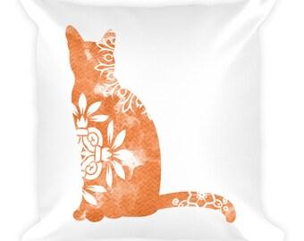 Watercolor Mandala Accent Pillow   18x18 Square Pillow   Cat   Orange