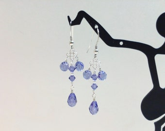 Blue Crystal Chandelier Earrings - FREE SHIPPING