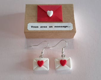 """Love letter earrings Valentine's Day and gift box """"You've got a message"""""""